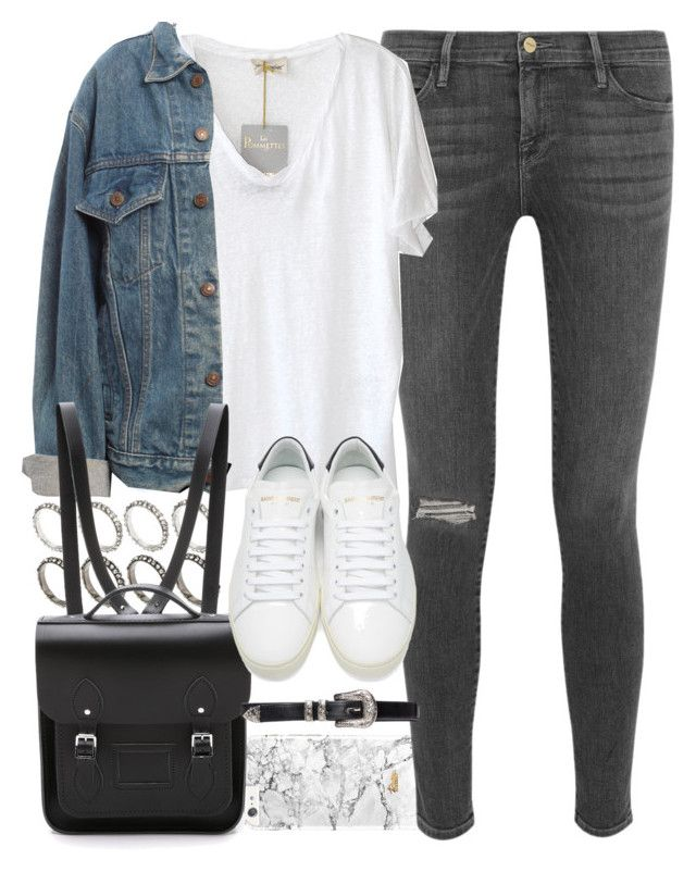 """""""Outfit for uni with a Cambridge satchel backpack"""" by ferned ❤ liked on Polyvore featuring Frame Denim, American Vintage, ASOS, Levi's, The Cambridge Satchel Company and Yves Saint Laurent"""