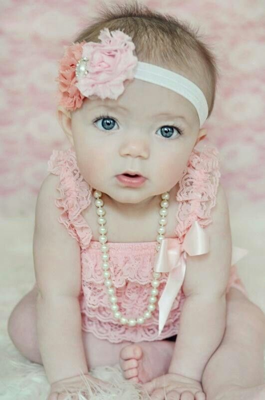 Beautiful baby girl's 6 month pictures/ Valentine pictures. Cute baby girl picture. cute baby girl headband