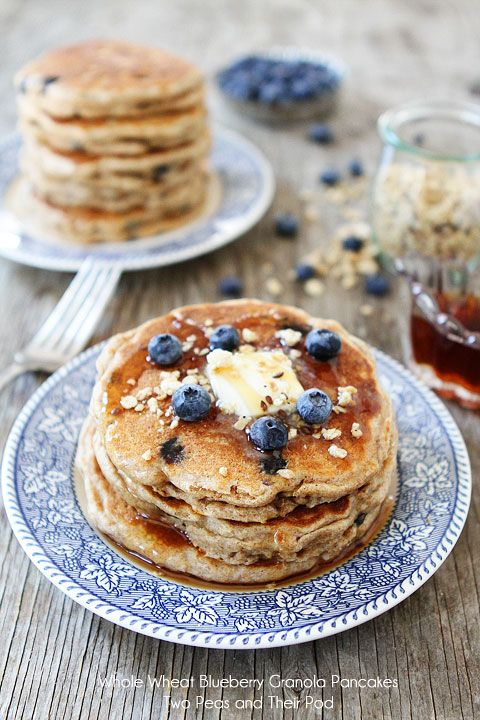 Whole Wheat Blueberry Granola Pancake Recipe from twopeasandtheirpod.com
