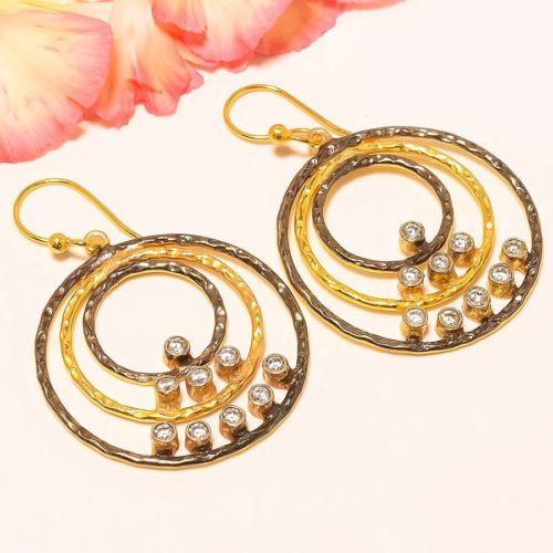 White-Topaz-Gold-Plated-Handmade-Earring-2-32-034-3112
