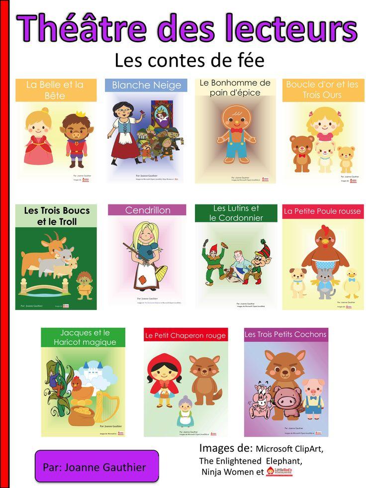 Here are 11 Fairy Tale Readers' Theatre scripts in French to help young students have fun while learning a second language.  Voici 11 pièces de théâtre de conte de fée pour le théâtre des lecteurs. Ceci est une façon amusante d'enseigner une deuxième langue aux jeunes.