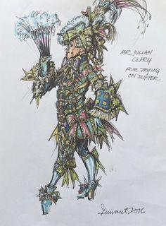Hugh Durrant - costume sketch for Julian Clary in Cinderella at The London Palladium, 2016
