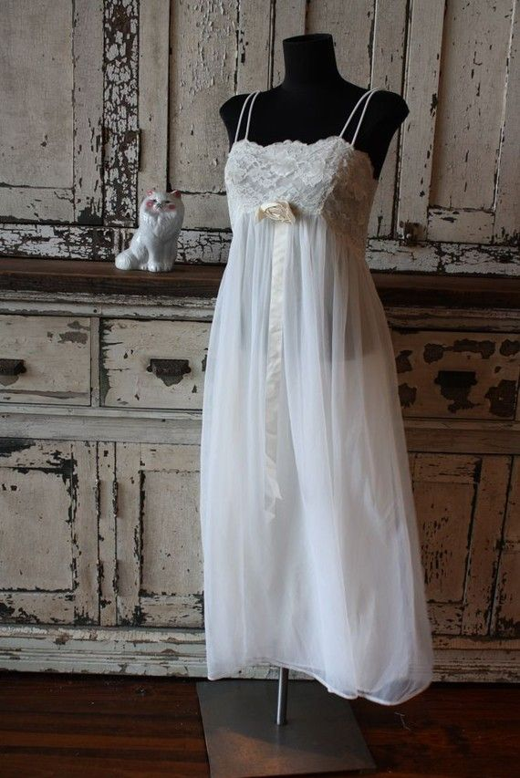 Vintage Romantic White Lace Slip Dress Beautiful Summer