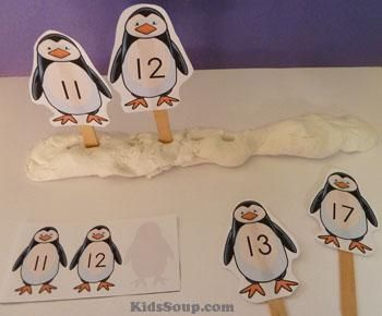 Penguin number line and sequencing activities