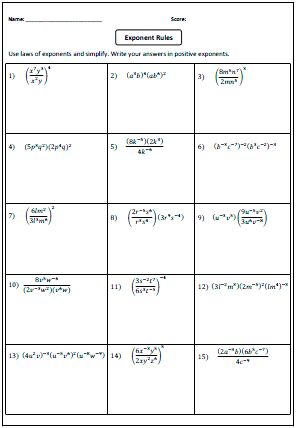 Preview: Laws of Exponents Worksheets