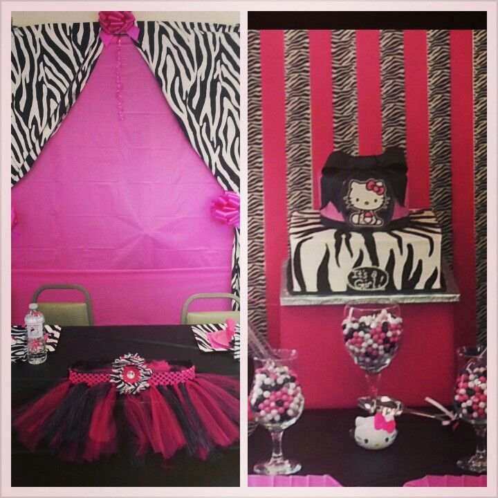 Hello kitty and zebra print baby shower quinteria and for Animal print baby shower decoration ideas