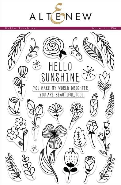 Inspired by coloring book pages, this set has many elements that can be used to build your own backgrounds or patterns. Add a little doodle to your projects with these hand-drawn flowers and foliage. Whether you leave them as outline images or color them in, these stamps will provide countless possibilities for any projects. I think you will love these floral images! https://altenew.com/products/hello-sunshine-stamp-set
