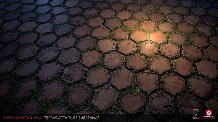 Terracotta Tiles / Substance Designer, Chris Hodgson on ArtStation at https://www.artstation.com/artwork/OxJWe