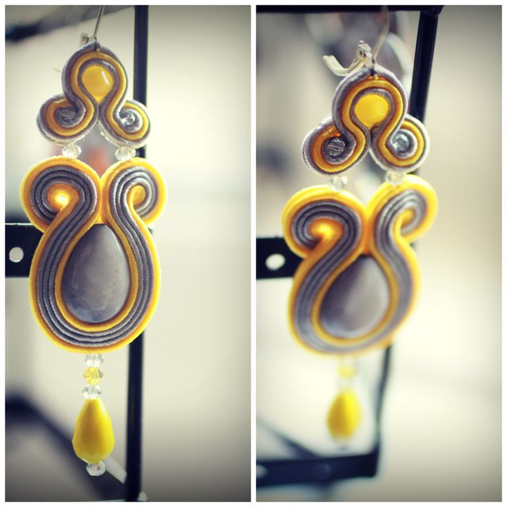 grey soutache earrings