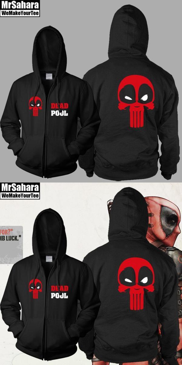 Sexemara Marvel Comics Deadpool Full Zip Up Spring Hoodie Sweatshirt Size Adult free shipping 2017 man hoody
