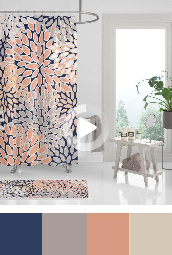 ホームデコレーション浴室の色 コーラルピーチと海軍シャワーカーテン