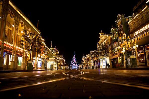 #Disneyland Paris. The Sleeping Beauty Castle seen from Main Street by night dark with lights #DLP #DLRP #Disney 'Le Château de la Belle au Bois Dormant'