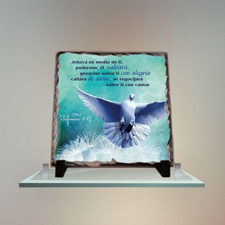 Jehová en medio de ti, poderoso, él salvará; gozaráse sobre ti con alegría, callará de amor Sofonías 3:17 Stone Slate Home Decor Art by InspiraGifts on Etsy