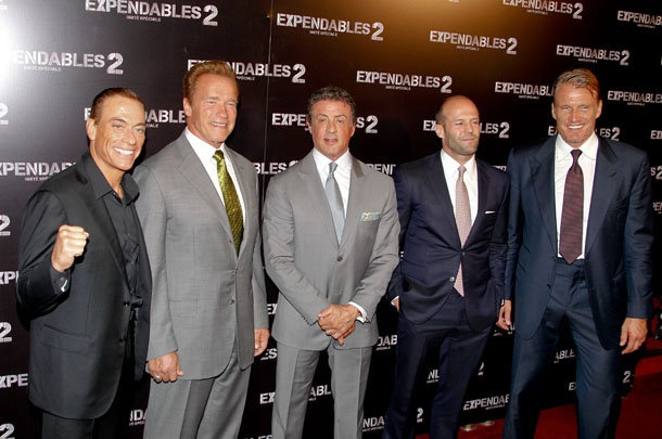 "Sylvester Stallone and his 'Expendables 2' co-stars on August 9 (KCS / Splash News)  A Nice Group of Handsome ""Older"" Men - I still have a soft spot in my heart for Sly..."