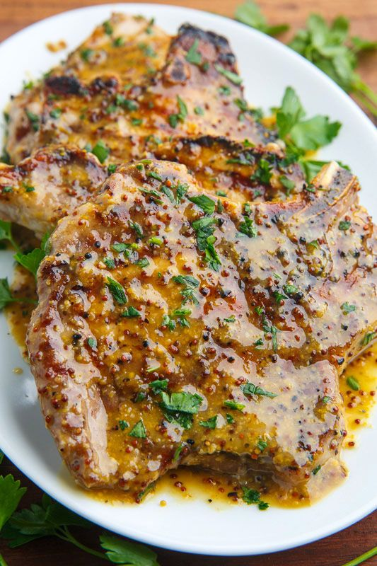 Honey Mustard Grilled Pork Chops on Closet Cooking