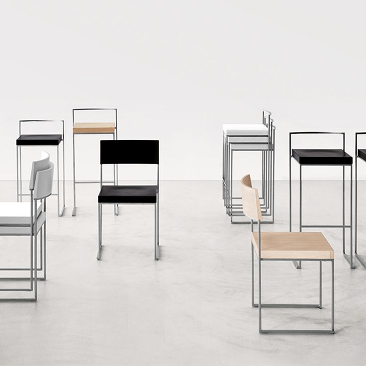 Cuba and Cubo stackable barstool and chair family made with steel frame and wooden seating