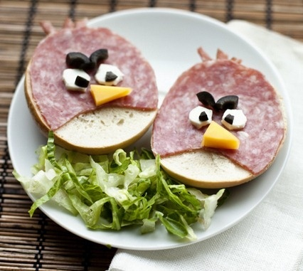 Angry Bird Sandwiches....the kids could make these