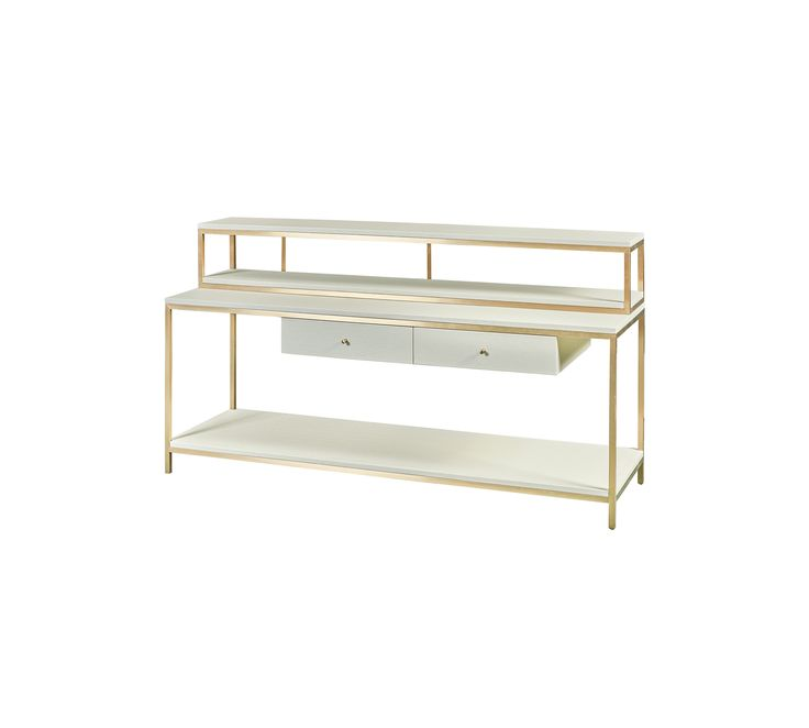 this timeless billy in giltbrushed brass and mock shagreen in ivory features a series of shelves and drawers and come in three
