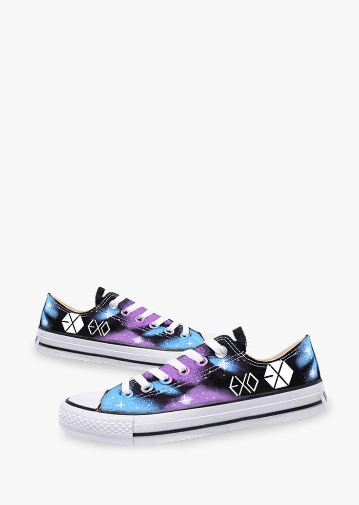 Exo bigbang tie dye galaxy sneakers glow dark and eyes for Glow in the dark galaxy fabric