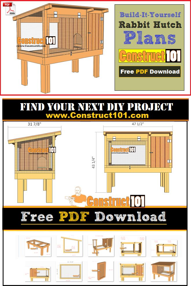 Rabbit hutch plans, free PDF download. Step-by-step instructions, cutting list, and shopping list.