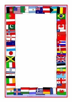 Flags of the world A4 page borders SparkleBox