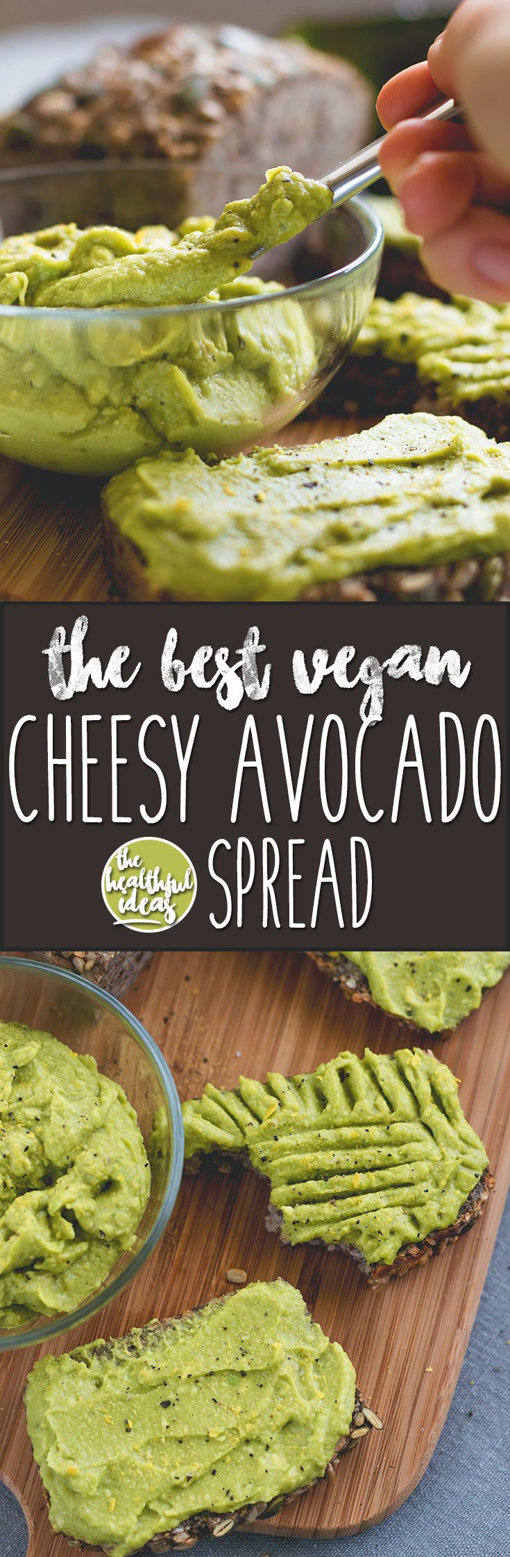 The Best Cheesy Vegan Avocado Spread - healthy and delicious spread you can whip up in a matter of minutes. I love this recipe! Avocado, nutritional yeast, and spices - nothing more! vegan & gluten-free | thehealthfulideas.com
