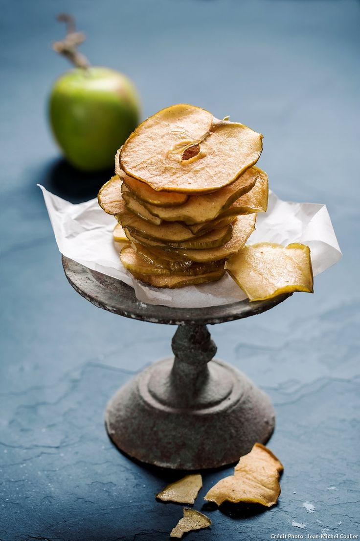 La granny-smith donne de l'acidité et du peps à ces chips de pomme. Sa tenue lors des cuissons longues est irréprochable.