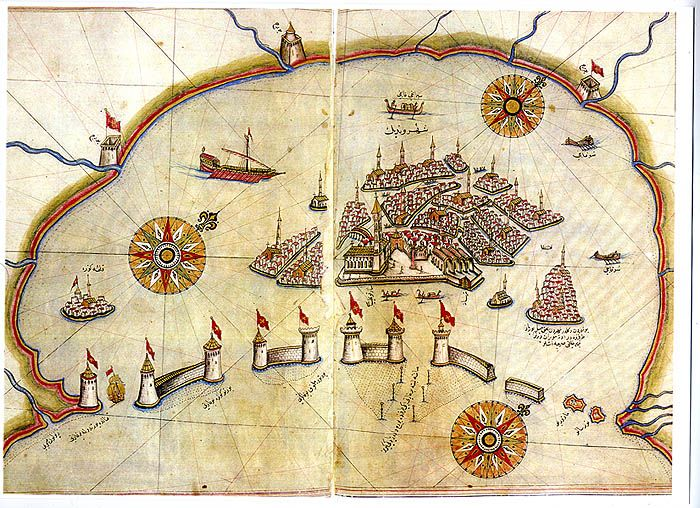 1521, Piri Reis, Venice Lagoon.  The Kitab-i Bahriye ( Book of the Navy) is a navigation manual of the Mediterranean made by turkish Ottoman admiral Piri Reis  in the second decade of the sixteenth century   and completed around 1521.