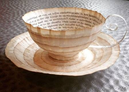 Artist repurposes vintage books as exquisite paper cups & bowls : TreeHugger