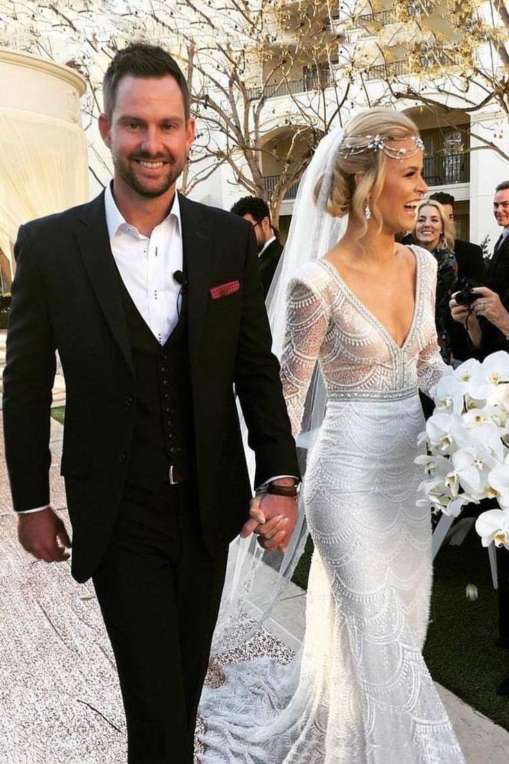 Buy 2018 luxurious wedding dresses v neck lg sleeves lace mermaid with beading x…