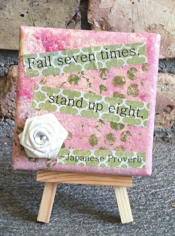 Small canvas art mixed media Japanese Proverb by osbornemixedmedia, $18.00