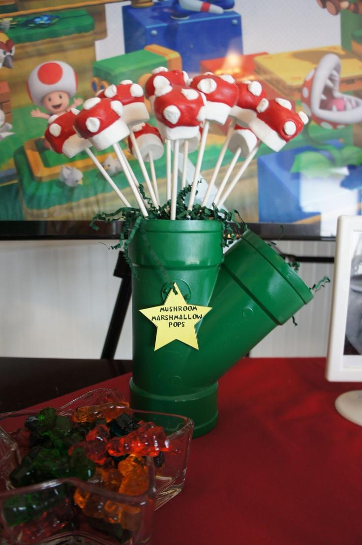 Mario Bros. Warp Pipe-put marshmallow pops inside