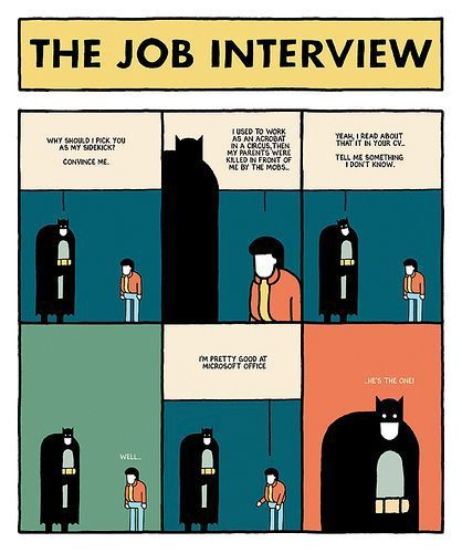 infographic : The job interview #funny #cartoon  Every employer is looking for a Super Hero.