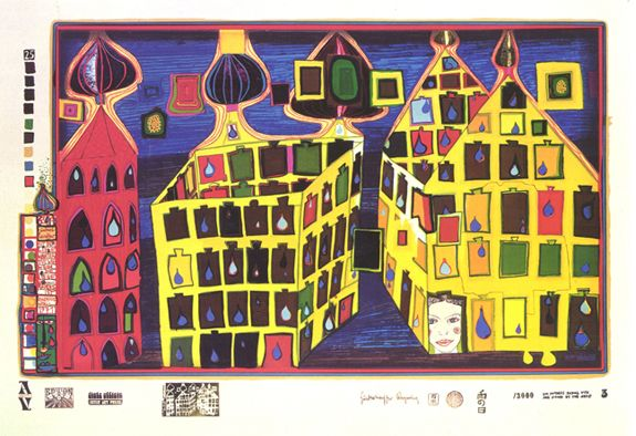 "Hundertwasser, ""It Hurts to Wait with Love if Love is Somewhere Else"" 1971. Sheet No. 3 in the portfolio ""look at it on a rainy day"". Silkscreen in 29 colros, including 2 phosphorescent, with metal imprints in 6 colors, variously aligned blind screen over the cupolas. Stamped signature. Edition of 3,000."