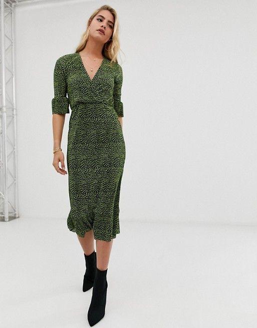 2c40d0210526 DESIGN midi plisse tea dress with open back in blurred polka dot