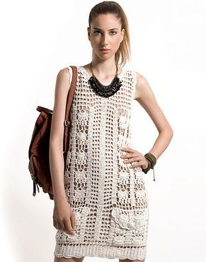 Receitas Círculo - Vestido Regata Crochê      ♪ ♪ ... #inspiration_crochet #diy GB