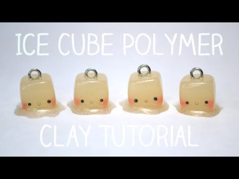 Kawaii Melting Ice Cubes polymer clay charm tutorial