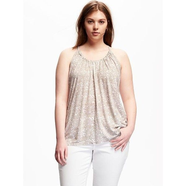 Old Navy Relaxed Plus Size Suspended Neck Tank featuring polyvore, women's fashion, clothing, tops, plus size, white, jersey tank, plus size white tank top, plus size white tops, plus size tanks and white jersey