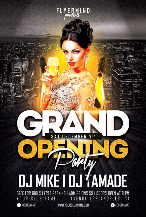 Grand opening party flyer template freebie free party for Free club flyer templates