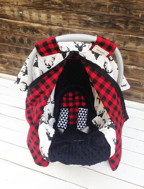 Deer & Plaid Car Seat Cover/ Car Seat Canopy Custom Gift Sets