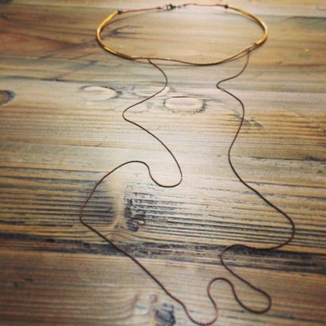 """@Somsri's photo: """"Short brass torque necklace with extension chain."""" #jewellery #handmade #jewelry #necklace #somsri #brass"""