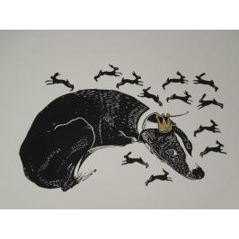Gwen Scotts' Linocut: Dog dreaming of rabbits... from Firestation Print Studio...Just gorgeous