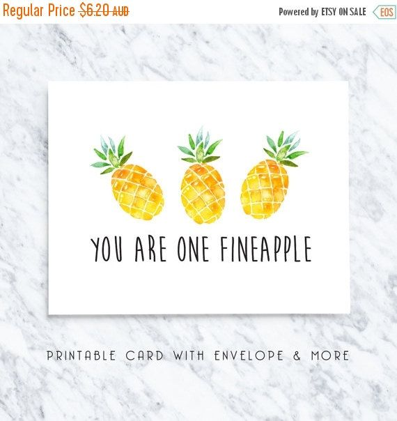 70% OFF pineapple printable valentines card by TheLittlePiper