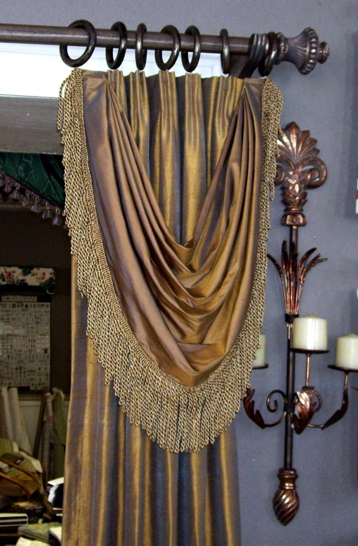 Euro Pleated Drapery With Bustle Swag Curtains And