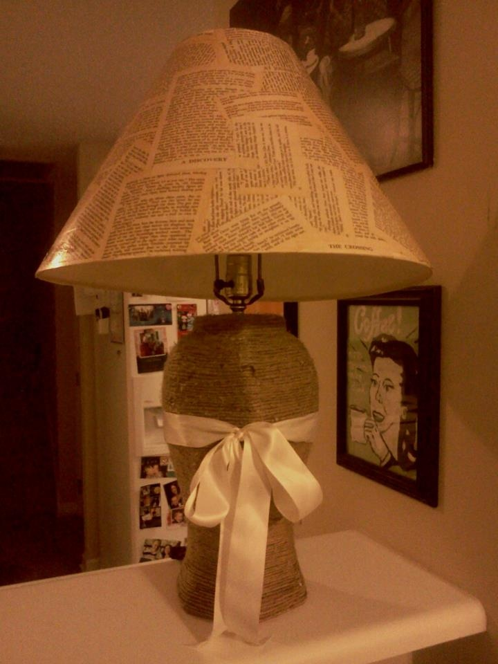16 best lamp shade ideas images on pinterest lampshades lamp mod podge lamp shade made with old pages from a book and twine wrapped base mozeypictures Choice Image