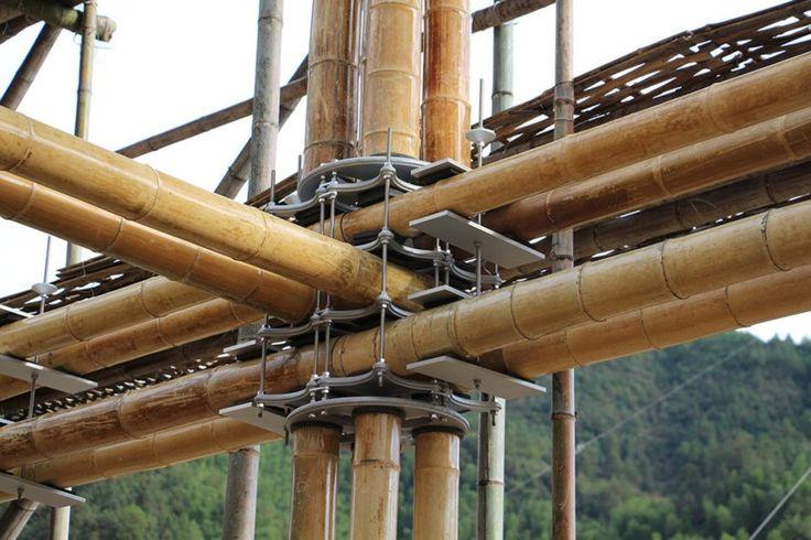 Лунцюаньте International Bamboo Коммуна, энергоэффективный дом из бамбука, энергоэффективный дом из бамбука в Лунцюань International Bamboo Коммуне, Энергоэффективной Bamboo House Студии Карденасом, устойчивая архитектурой в Китае, экологически чистый бамбук строительство