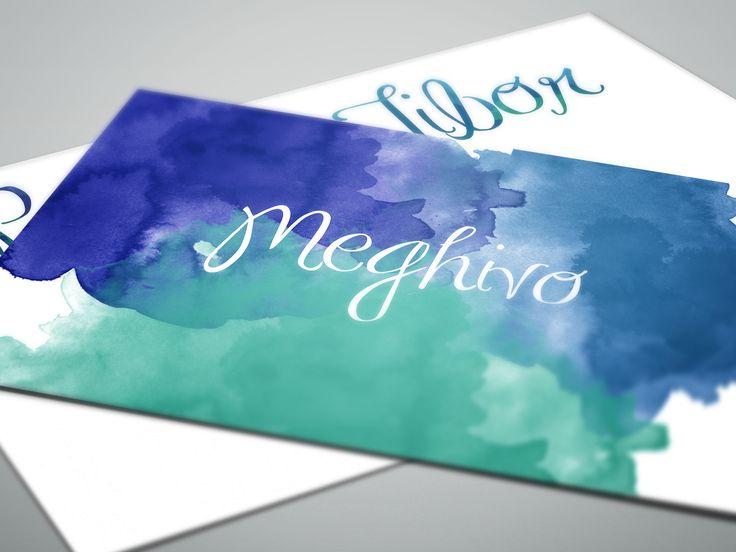 Kék-zöld színátmenetes, vízfesték hatású meghívó | Blue-green watercolor wedding invitation