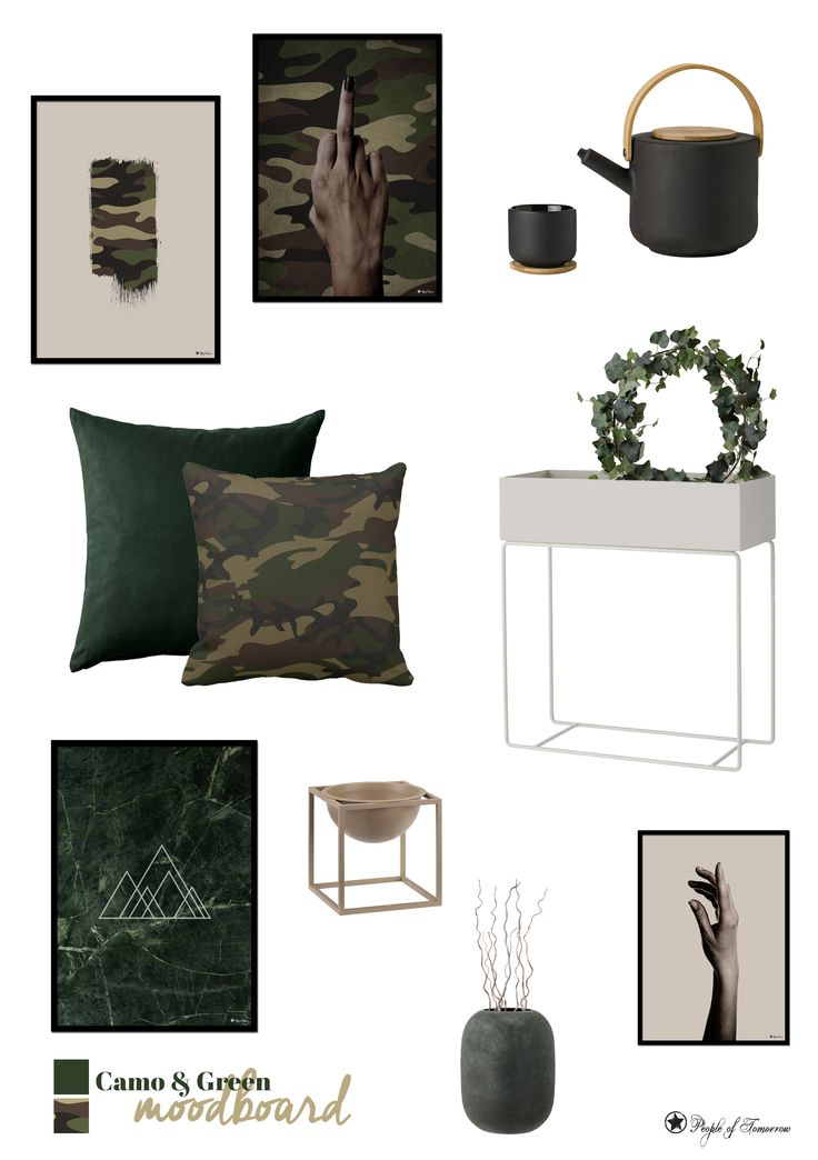 Camo & Green moodboard // Be inspired by our moodboards and shop unique wall art for your home. www.peopleoftomorrow.no #moodboard #interior #wallart #camo #decor #collage #scandinavian #nordic #interiorstyle #inspiration #poster #artprint