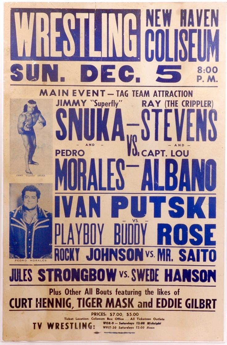 Love how many recognizable name you see on an old school program like this! Jimmy Snuka, Rocky Johnson, Capt Lou, Curtis Hennig