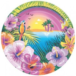 Luau Party Dessert Plates - 7in (8 Pack)
